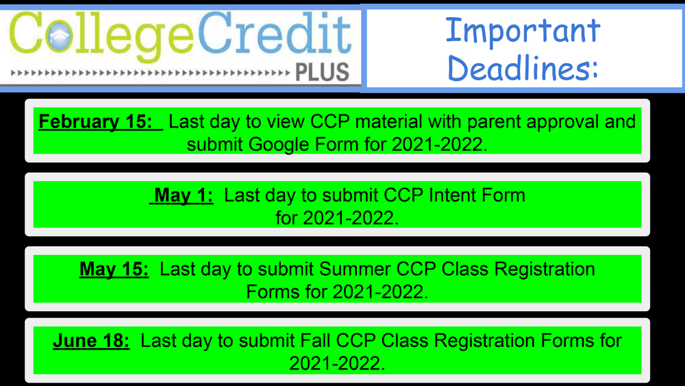 CCP Students - Important Deadlines Posted